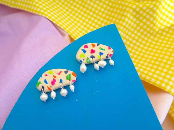 Baked by Lou polymer clay terrazzo style studs, with gorgeous fresh water pearls
