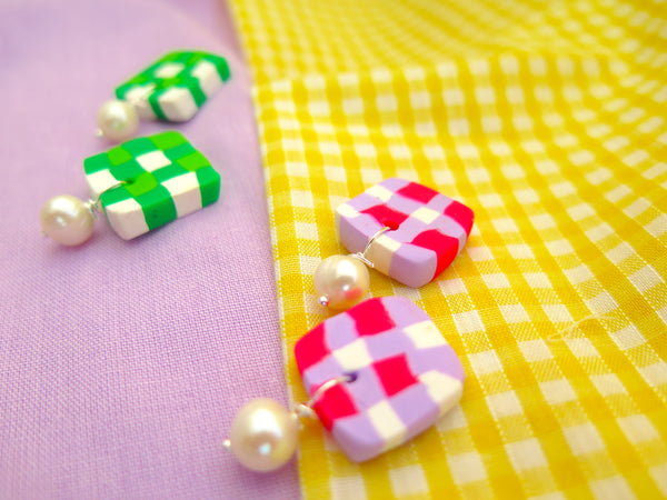 Baked by Lou polymer clay checkerboard studs with freshwater pearls