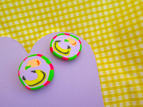 Baked by Lou polymer clay cane studs, peach and banana! Available to buy as charms, studs, brooch or hoops