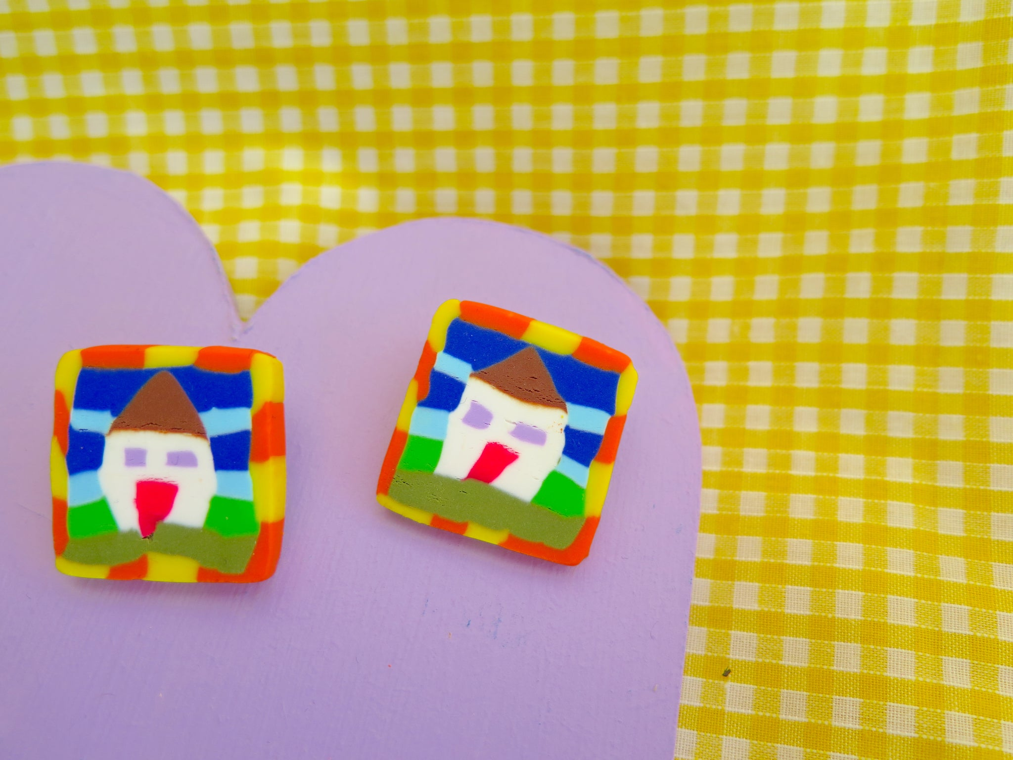 Baked by Lou polymer clay cane studs, home sweet home! Available to buy as charms, studs, brooch or hoops