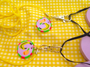 Baked by Lou, mask lanyard with banana charms and silver swivel clasp detachable hooks
