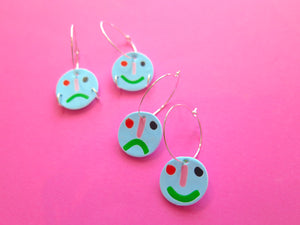 Polymer clay multi coloured happy face sad face hoop earrings