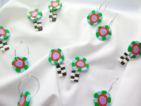 Flower power checkered hoops or dangles