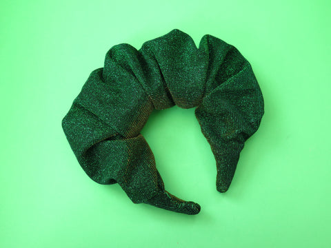 Ruffle Hair band hand sewn in green sparkly fabric