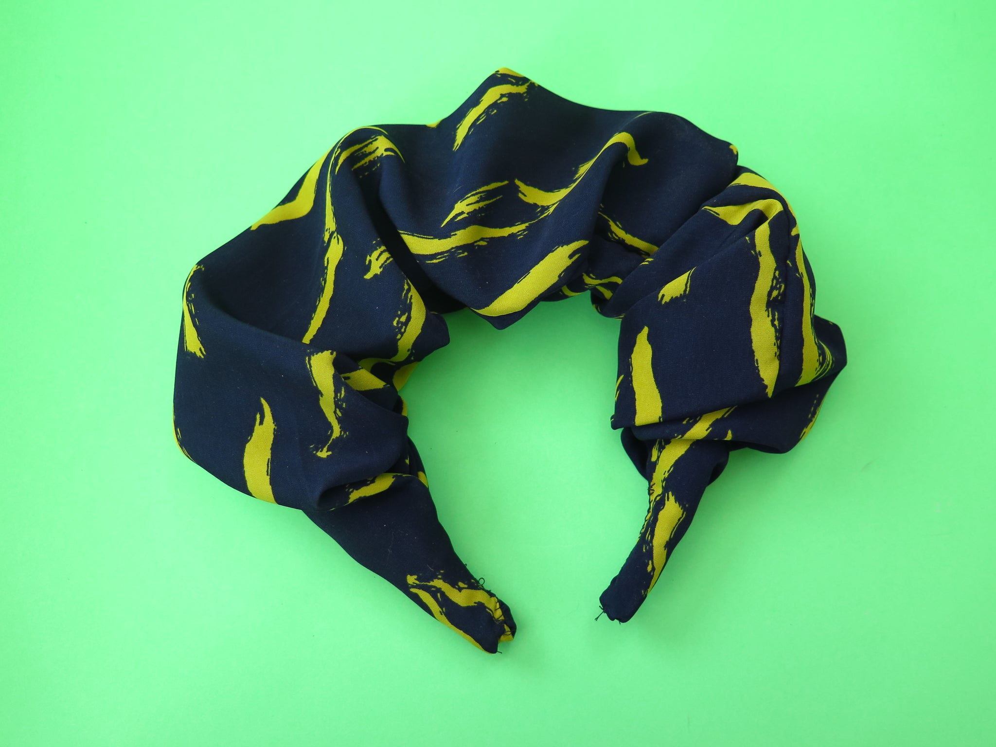 Ruffle Hair band hand sewn in navy with mustard flecks fabric