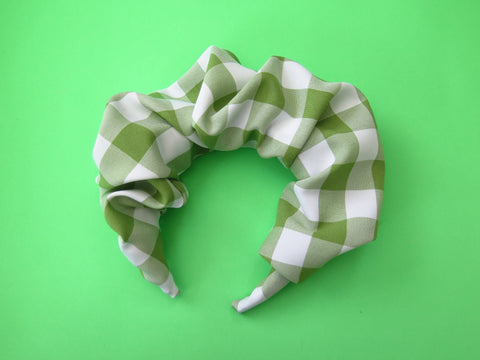 Ruffle Hair band hand sewn in green gingham fabric