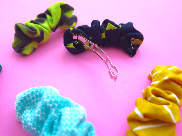 Ruffle Hair Barrettes hand sewn in multiple colours