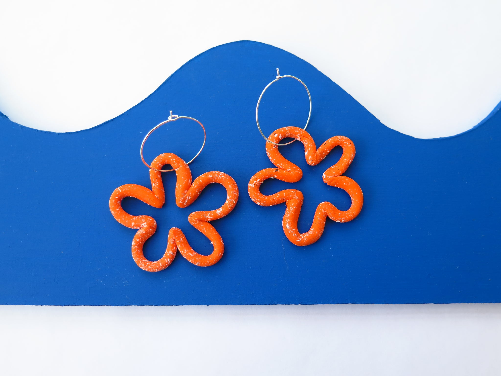 Baked by Lou polymer chunky flower shape hoop earrings