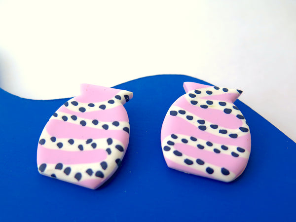Baked by Lou statement pink vessel stud earrings