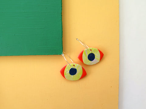 Baked by Lou polymer clay pink marble eye hoop earrings