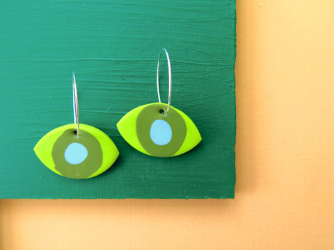 Baked by Lou polymer clay green angel eye hoop earrings