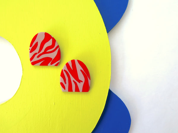 Baked by Lou statement rose and red zebra stud earrings