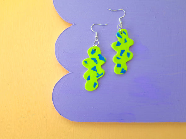 Baked by Lou statement green blob dangle earrings