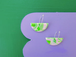 Baked by Lou polymer clay green and pink marble hoop earrings