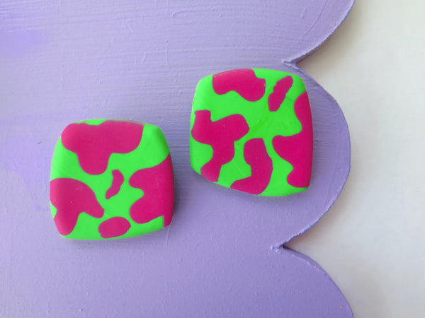 Baked by Lou statement colourful square stud earrings