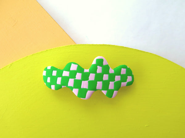 Baked by Lou hair barrette in checkerboard and smiley faces