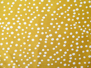 Hand sewn head wrap in mustard and white polka dot stretch lycra fabric