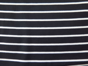 Hand sewn head wrap in black and white striped stretch jersey fabric