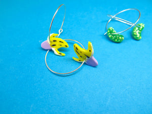Baked by Lou polymer clay 'charm' hoop earrings banana or pickle