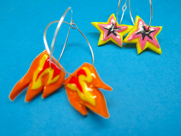 Baked by Lou polymer clay 'charm' hoop earrings flames or stars