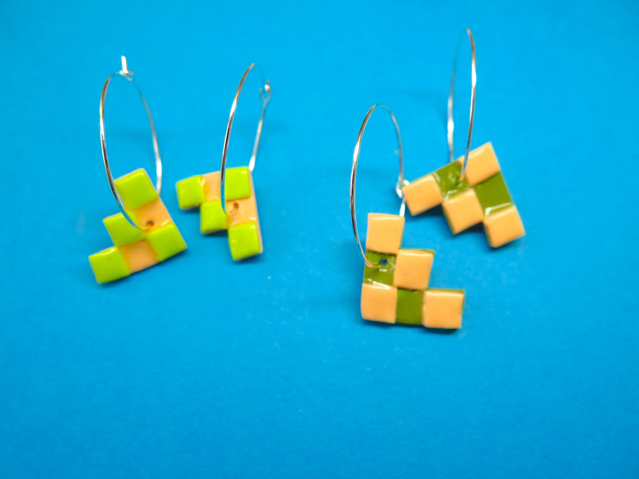 Baked by Lou polymer clay 'charm' hoop earrings checkerboard in two colours