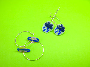 Baked by Lou polymer clay 'charm' hoop earrings planets or rain clouds