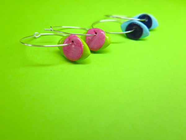 Baked by Lou polymer clay 'charm' hoop earrings eyes in two colours