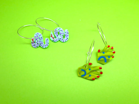 Baked by Lou polymer clay 'charm' hoop earrings snakes or sad hands