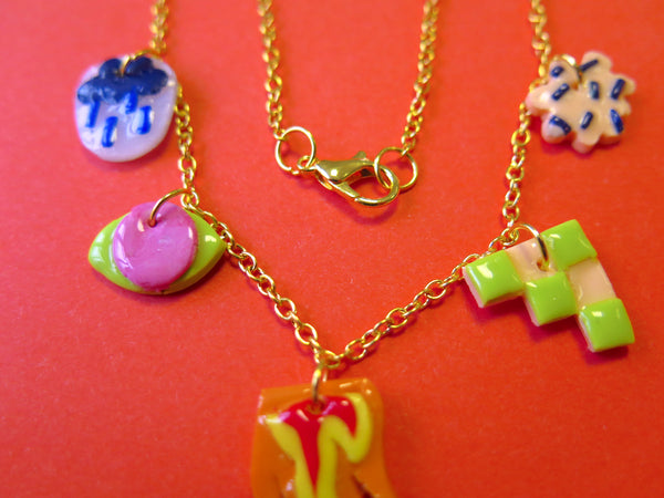 Baked by Lou polymer clay charm-style necklace in gold colour
