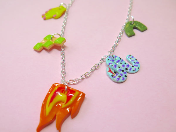 Baked by Lou polymer clay charm-style necklace in silver colour
