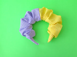 READY TO GO Ruffle Hair band hand sewn in yellow and lilac gingham