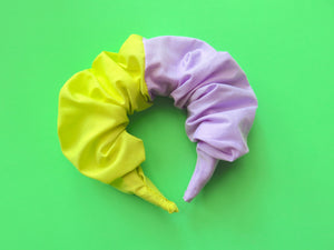 Ruffle Hair band hand sewn in lime and lilac plain fabric