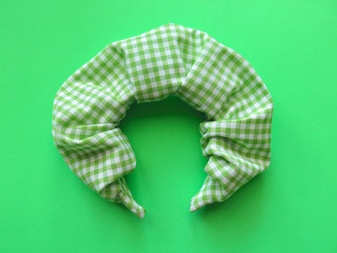 Ruffle Hair band hand sewn in small green gingham