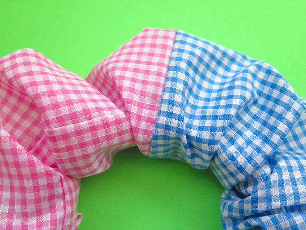 READY TO GO Ruffle Hair band hand sewn in blue and baby pink