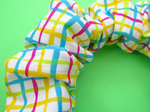 READY TO GO Ruffle Hair band hand sewn in colourful checks