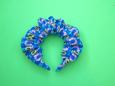 READY TO GO Ruffle Hair band hand sewn in blue abstract pattern