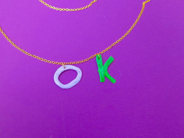 Wonky clay letter necklace in gold colour, pick your own word