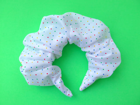 READY TO GO Ruffle Hair band hand sewn in white and colourful polka dots