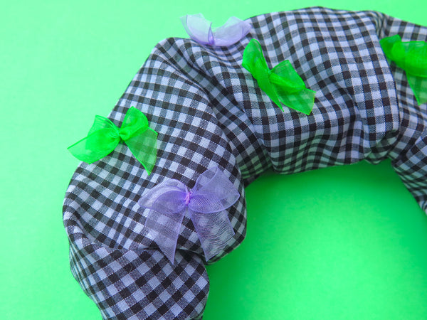 READY TO GO Ruffle Hair band hand sewn in black gingham with colourful bows