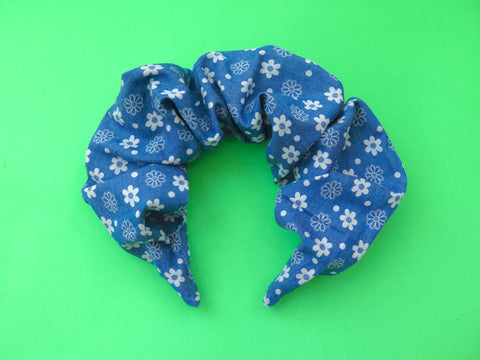 READY TO GO Ruffle Hair band hand sewn in denim and white flowers