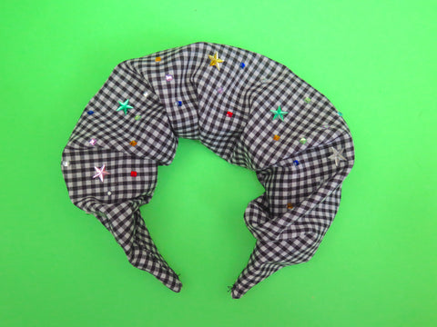 PRE ORDER Ruffle Hair band hand sewn in black gingham with colourful bling