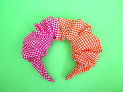PRE ORDER Ruffle Hair band hand sewn in orange and pink gingham