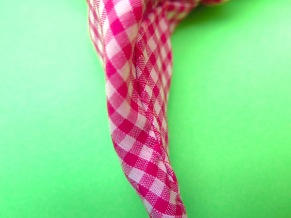READY TO GO Ruffle Hair band hand sewn in orange and pink gingham