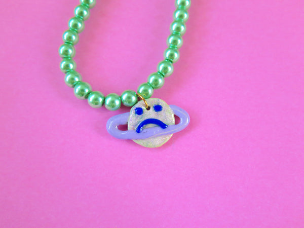 Baked by Lou polymer clay charm necklace with pearlescent beads