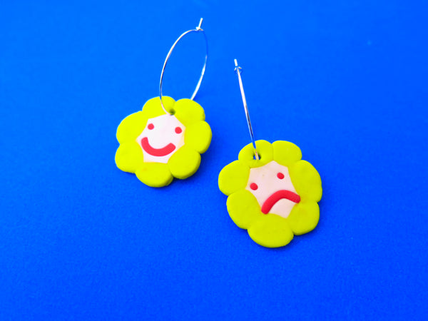 Flower power happy face polymer clay earrings by Baked by Lou