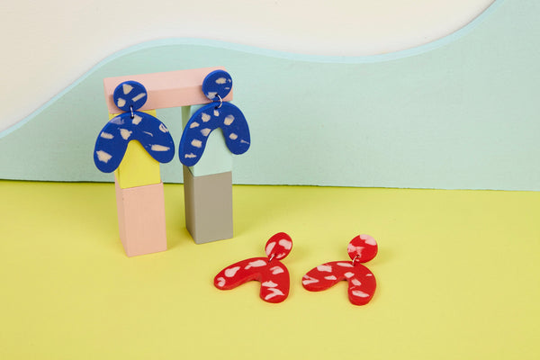 Large statement primary colour clay earrings