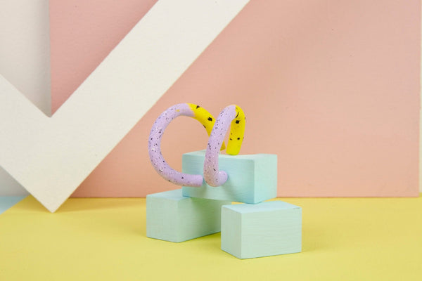 Chunky pastel hoops in lilac and zingy yellow