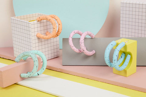 Polymer clay speckle hoop earrings in pastel colours
