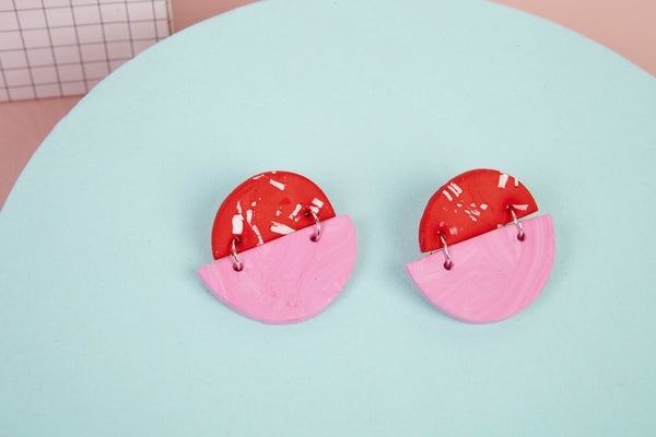 Statement polymer clay studs in red and pink by Baked by Lou
