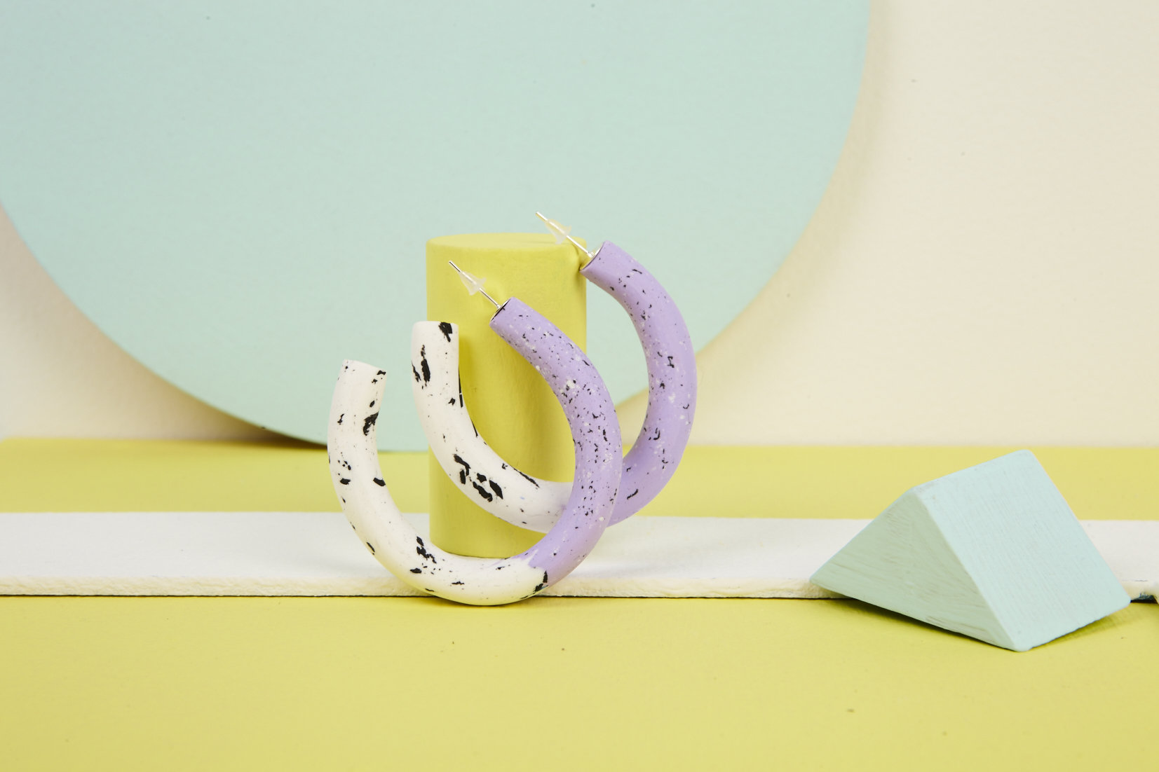 Chunky clay pastel speckle hoops in lilac, black and white